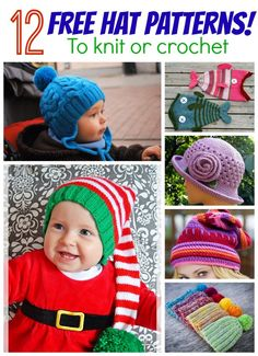 Do you knit or crochet?  How about 12 free hat patterns!
