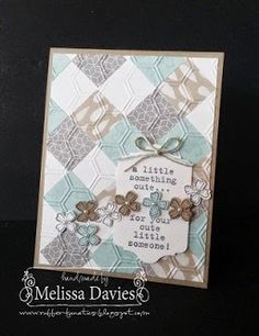 SU!pplies: Stamps: Something To Say Ink: Versamark, Basic Gray Paper: Whisper White, Sahara Sand, Soft Sky, Moonlight Designer Series Paper Accessories: Chalk Talk framelits, Itty Bitty Accents Punch Pack, Basic Pearls, Honeycomb embossing folder