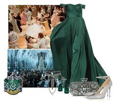 """""""Slytherin Yule Ball"""" by ara1ka ❤ liked on Polyvore featuring Jimmy Choo and CARAT* London"""