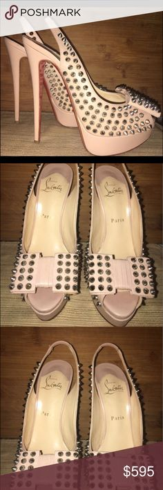 """Louboutin Nude Bow Spike Heels 38 Preloved Christian Louboutin """"Clou Noeud"""" Beige/Nude leather heels with Silver Tone spikes & Bow detail. These are in excellent condition soles have wear from use, ready to go to there new forever home ❤️ 🏡 👠😻👏🏼 Christian Louboutin Shoes Heels"""