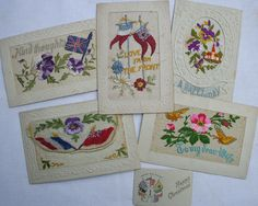 Postcards from the front Vintage Shabby Chic, Embroidered Silk, Wwi, Postcards, Stitches, Needlework, Greeting Cards, Textiles, Cottage