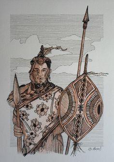 O CAÇADOR (bico de pena, lápis de cor aquarelável s/ papel C à grain 224g/cm², tamanho: A4)