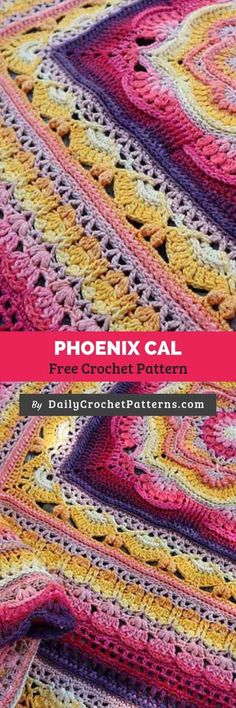 Crochet afghans 281263939213905819 - Phoenix CAL Free Crochet Pattern Source by thecraftingqueen Crochet Afghans, Baby Blanket Crochet, Crochet Shawl, Crochet Stitches, Crochet Baby, Baby Afghans, Crochet Blankets, Afghan Crochet Patterns, Knitting Patterns