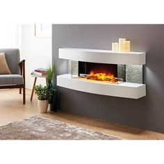 New No Cost Electric Fireplace tile Ideas Fraenzel Curve Wall Mounted Electric Fireplace Tv Over Fireplace, Wall Mounted Fireplace, Concrete Fireplace, Fireplace Hearth, Fireplace Inserts, Fireplace Design, Fireplace Ideas, Fireplace Candles, Basement Fireplace