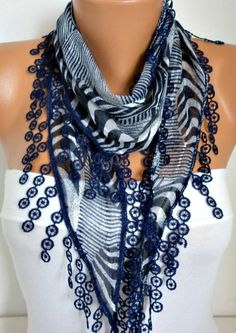 ON SALE - 50% OFF -    Cobalt Blue Scarf -  Cotton  Scarf - Shawl -  Cowl with Lace Edge   - fatwoman