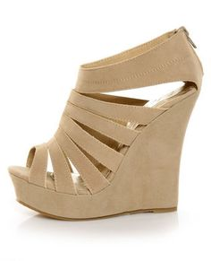 Just try to contain your excitement once you zip into the Yoki Alyson Beige Velvety Platform Cage Wedges! Rows of sexy cutouts accent multiple straps. Cute Shoes, Me Too Shoes, Wedge Shoes, Shoes Heels, Dsw Shoes, Uggs, Nude Wedges, Fashion Shoes, Shoes
