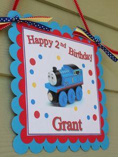 Thomas The Train Happy Birthday Door Sign in Blue by SoCuteParties, $12.00