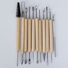 11 pcs Pottery Clay Sculpture Carving Tool Set / Made of Wood and Metal--Great for Clay, Paint, Foam Crafts, Wood Models, Art Projects, Sculpture and Other Craft Projects by SuntekStore Online. $13.99. Provides a variety of different carving shapes to give you more flexibility for your designs. Includes 10pcs tools with wood center handle and double shaped heads, 1pc tool with metal handle and single head. Great for clay, paint, foam crafts, wood models, art project...