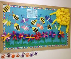"""""""Buzzing into Spring"""" bulletin board!!! Made this with kindergarten, first and second graders at Hopi mission elementary school #SpringBulletinBoard #elementary #BuzzingIntoSpring"""