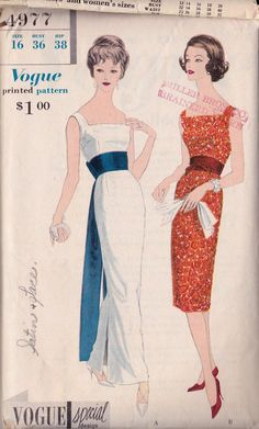 Vogue 4977 ca. 1959 One-Piece Dress, Obi Sash & Cummerbund
