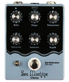 This is the Earthquake Devices Sea Machine Chorus pedal. This high-quality Chorus pedal has controls for more parameters than most chorus pedals, including, Rate, Shape Dimension, Intensity, Animate, and Depth. This pedal is designed to work well following Fuzz, distortion and overdrive without getting muddy thanks to its high headroom. The Sea Machine is true bypass, and is hand made by Earthquaker in Akron, OH.