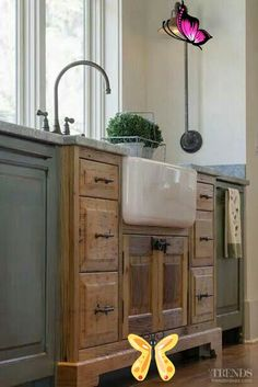 Favorite Pins Friday! - Beneath My Heart Love the exposed sink and the natural wood with the painted cabinets!<br> Happy Friday, Friends! I hope you have had a good week. :) My and my boys are up to something fun and spur-of-the-moment this weekend. I will be sure to share lots of pictures with you next week! For now, here are my favorite pins from Pinterest this week…. Enjoy! (Click on the link ... Read More about Favorite Pins Friday!