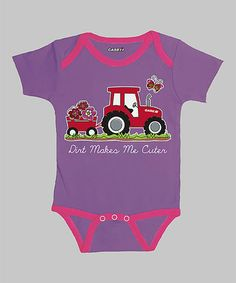 Take a look at this Lavender 'Dirt Makes Me Cuter' Bodysuit - Infant by International Harvester on #zulily today!