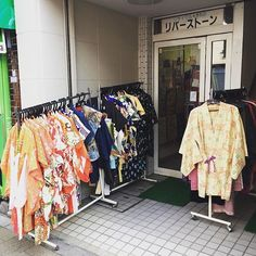 "Lots of vintage kimonos for sale in Tokyo. Watch my video tour of fabric shopping in Tokyo at http://www.sewinlove.com.au/2015/12/24/video-fabric-shopping-tokyo-nippori-textile-town/ Use ""PINTEREST15"" for 15% off my ebooks."