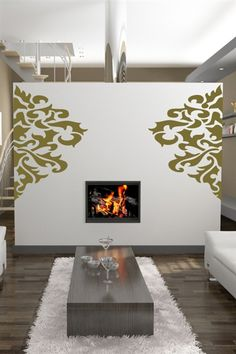 Large Damask Wall Decals (Bedroom w/ wedding pictures)