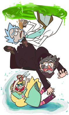 Rick and Morty - Rick Gravity Falls - Stanford Pines Star Vs. the Forces of Evil - Star Butterfly Art Gravity Falls, Gravity Falls Crossover, Gravity Falls Comics, Fandom Crossover, Ricky Y Morty, Cartoon Disney, Desenhos Cartoon Network, Desenhos Gravity Falls, Bd Art
