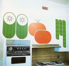 Vintage Supergraphic kitchen decals.