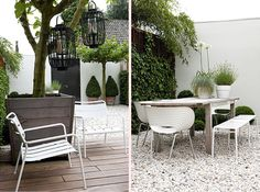 simple contemporary wooden planter palest gravel and decking