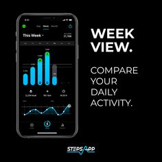 The week view 📊 provides a simple overview of how active you were on which day. 💡 Set your goals and see how you performed. One click on the day and you can even see at which hour you were most active! 💥 #StepsApp #WeekView #FitnessChart #Running #Walking #CountingSteps #Active #Workout #FitnessAddicted #Summer2021 #GettingFit #FitForSummer #Weightloss Active You, Set Your Goals, Walking, Weight Loss, Activities, Running, Workout, Simple, Day