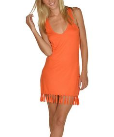 Look what I found on #zulily! Orange Fringe Cover-Up Dress by Lagaci #zulilyfinds