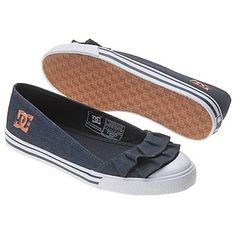 DC Shoes Womens Venice Ruffle Shoes (Dc Navy). Give your look an unexpected girly twist with these sweet DC Shoes Venice Ruffle skate shoes. Fabric upper in a casual slip-on skate shoe style with a round toe and smooth rubber toe cap. A layered, pleated $36.00