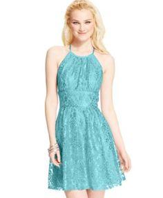 B Darlin Juniors Dress, Sleeveless Lace A-Line   macys.com