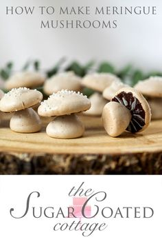 Sweet, edible, delicious meringue woodland mushrooms are great for decorating any dessert or to eat by themselves. Desserts To Make, Delicious Desserts, Dessert Recipes, Meringue Mushrooms, How To Make Meringue, Cottage Meals, Melting White Chocolate, Chocolate Sprinkles, Desert Recipes