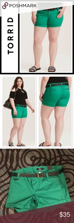 """Torrid Green Belted Shorts NWT Torrid Green Belted Shorts New with tags! Size 24, such a pretty color, perfect for summer.   Dress up your warm weather look. this soft stretch sateen is a versatile short with a nice sheen. We've paired this cuffed and pocketed style with a contrasting black belt for instant, effortless fashion. 5"""" inseamCotton/spandexWash cold, dry lowImported plus size shorts torrid Shorts"""