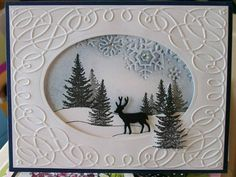 Nice use of the embossing folder!with swirled embossing & forest scene.by jaydekay - cards & paper crafts at Splitcoaststampers.Die Cut Window Snow Scene with embossing folder designBy jaydekay at Splitcoaststampers. Die-cut window to show scene behi Homemade Christmas Cards, Christmas Cards To Make, Homemade Cards, Xmas Cards Handmade, Winter Karten, Karten Diy, Window Cards, Embossed Cards, Stamping Up Cards