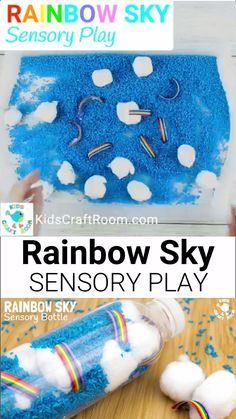 RAINBOW SKY SENSORY BINS and DISCOVERY BOTTLES are such a fun sensory play idea. Kids can explore ideas around weather and sky again and again. A super Spring and Summer sensory activity for babies toddlers and preschoolers. Nanny Activities, Sensory Activities Toddlers, Infant Activities, Toddler Preschool, Toddler Messy Play, Weather Activities Preschool, Kindergarten Sensory, Winter Activities For Toddlers, Nursery Activities