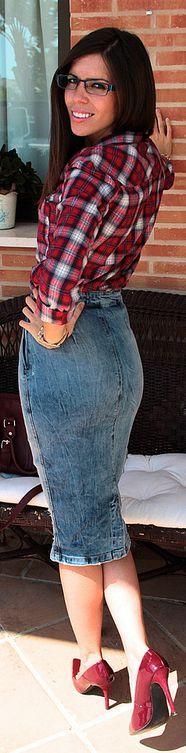 #Tartan + #Pencil #Skirt