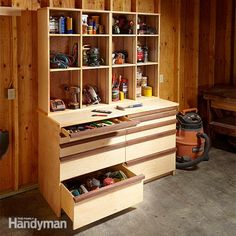 Shop Woodworking Neatly pack away most of your shop in this attractive tool storage cabinet, which features both shallow and deep drawers and adjustable open shelving. - A cabinet designed with tools in mind Tool Storage Cabinets, Table Storage, Garage Storage, Storage Ideas, Lumber Storage, Easy Storage, Woodworking Bench, Woodworking Shop, Woodworking Crafts