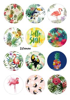 Hello sun 12 Images/Dessins/collages/Scrapbooking digitales pour cabochon 30/25/20/18/16/15/14/12/10/8 mm Rond/Carré/Ovale