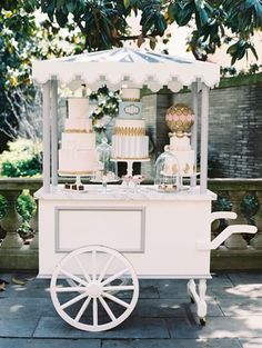 Chic Parisian Romance-Inspired Spring Wedding in Washington, DC Wedding reception Paris theme dessert pastry cart with three cakes and macaron sphere with pastries Sweet Carts, Deco Champetre, Candy Cart, Flower Cart, Outdoor Wedding Photography, Wedding Countdown, Beautiful Desserts, Paris Theme, Parisian Wedding Theme