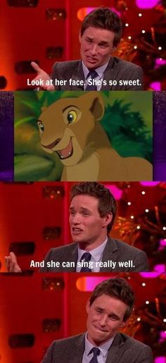 Exactly how I felt about Simba - he has great character, compassion, and a good voice!