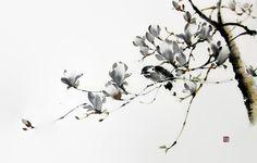 Japanese Ink Painting Ink art Asian art Sumi-e Suibokuga Japanese Ink Painting, Japanese Watercolor, Chinese Painting, Chinese Art, Watercolor Art, Peony Painting, Autumn Painting, Art Chinois, Street Art