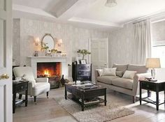 Super Ideas For Living Room Wallpaper Ideas Grey Laura Ashley Living Room With Fireplace, Living Room Grey, Living Room Kitchen, Home And Living, Living Room Decor, Laura Ashley Living Room, Laura Ashley Home, Room Wallpaper, Wallpaper Ideas