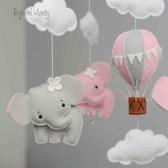 Your place to buy and sell all things handmade Items similar to Elephant Mobile - Hot Air Balloon Mobile - Custom Mobile (not ready made) - Ships in Weeks on Etsy Baby Crafts, Felt Crafts, Diy And Crafts, Elephant Mobile, Baby Elephant, Baby Couture, Felt Baby, Felt Decorations, Felt Toys