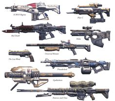 All of Destiny's Exotics (Pre-Expansion) - My favorite is the one on the bottom, Patience and Time.