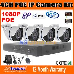 4CH Onvif Full HD 48V Real PoE 80-100m NVR Kits With HD 1080P Waterproof day night vision IR IP Cameras 2.0mp P2P Cloud Service #hats, #watches, #belts, #fashion, #style, #sport