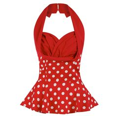 'Wilma' Red Polka Dot Top