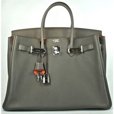 Hermès Bi-Color Horseshoe Very Rare Etain & Orange H Togo Leather 35cm Birkin Bag