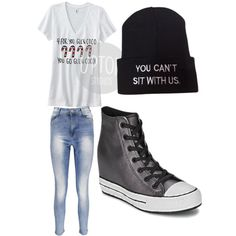 Mean girls by alannaxjonnesx on Polyvore featuring polyvore, fashion, style, Boohoo and Converse