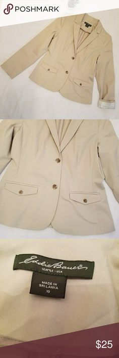 Tan Eddie Bauer Blazer Eddie Bauer Blazer in excellent condition. Two front pockets with two front buttons. This Blazer has an interior sleeve liner therefore can be seen if rolled up. Stitching in the back but can be removed for extra wiggle room. Eddie Bauer Jackets & Coats Blazers