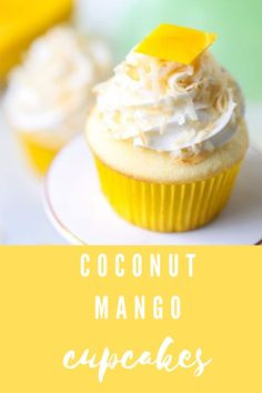 These mango coconut cupcakes are bursting with sweet tropical flavors in every bite and are perfect for your sweet tooth!! #aclassictwist #cupcakerecipes #mangococonutcupcakes #summerdesserts Coconut Cupcakes, Mango Cupcakes, Cupcake Recipes, Baking Recipes, Cupcake Cakes, Cookie Recipes, Summer Desserts, Summer Treats, Easy Desserts
