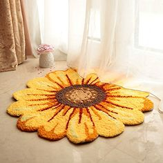 MeMoreCool Handmade Needlepoint Sunflower Acrylic Area Rugs Bedroom/Living  Room/Bathroom/Kitchen Home