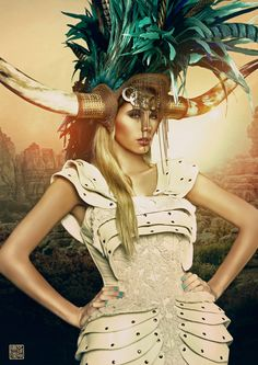 horned and feathered headdress; nice armoring