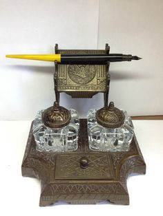 Rare Vintage Art Deco Cast Iron and Crystal Double Ink Well w/Pen Holder *MINT*