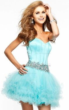 Aqua Beaded Ruffles Babydoll Mini Sexy Homecoming Dresses [Babydoll Mini Sexy Homecoming Dresses] - $159.00 : Discount Dresses for Prom 2013,Up 50% Off