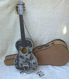 "Vintage 1938 ""Plainsman"" Cowboy Guitar w/Rare Original Case! #MontgomeryWard"
